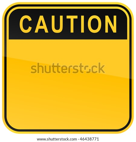 Yellow warning blank caution sign on a white background - stock vector