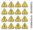 Yellow warning sign with exclamation mark symbol. Rounded triangle shape with color reflection on white background. 10 eps - stock photo