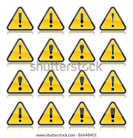 Yellow warning sign with exclamation mark symbol. Rounded triangle shape with color reflection on white background. 10 eps - stock vector