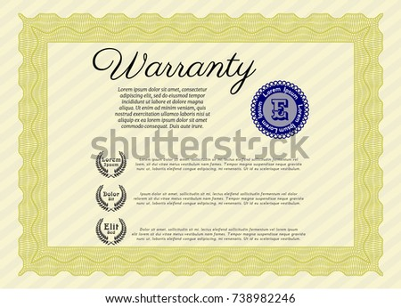 Certificate template 281261915 shutterstock yellow warranty certificate template with guilloche pattern and background money pattern customizable yelopaper Images
