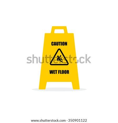 Yellow Wet Floor Sign. Flat vector icon. - stock vector
