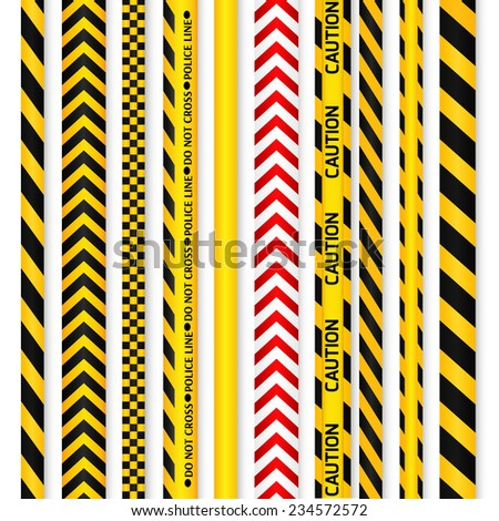 Yellow with black and red with white police line and danger tapes. Vector illustration. - stock vector