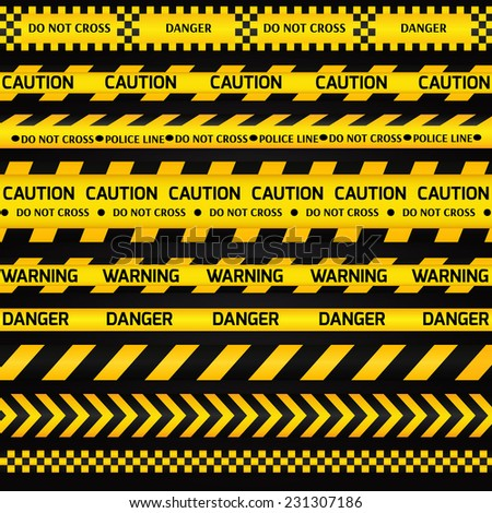 Yellow with black police line and danger tapes on dark background. Vector illustration. - stock vector