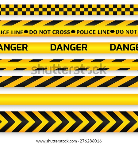 Yellow with black police line, security warning, danger tapes set with text Do not cross, Danger. For web, criminal and law design. Vector illustration.