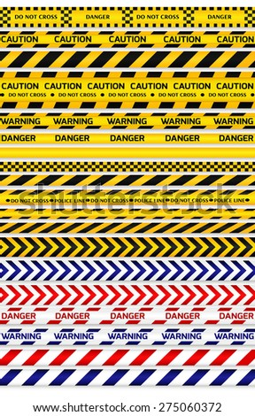 Yellow with black, red with white and blue with white police lines and danger tapes on white background. Vector illustration.   - stock vector