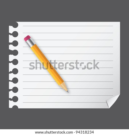 Yellow wooden pencil on a blank notepad vector illustration on business theme