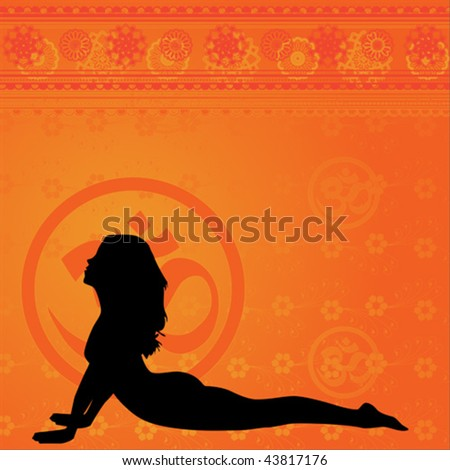 Yellow yoga and meditation background with floral elements - stock vector