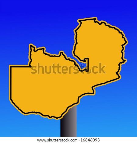 yellow Zambia map warning sign on blue illustration