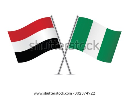 Yemen and Nigeria flags. Vector illustration.