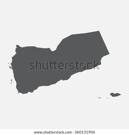 Yemen country map,border grey color. Vector EPS8 - stock vector
