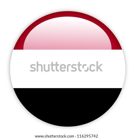 Yemen flag buuton on white - stock vector