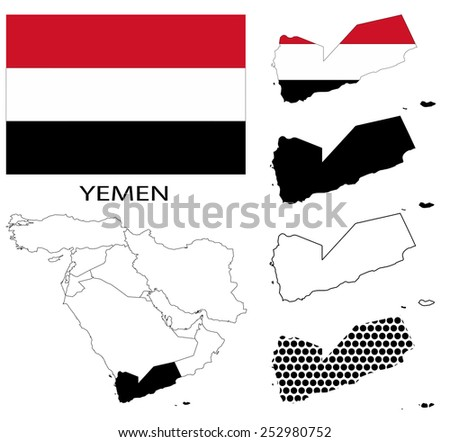 Yemen - Flag, four vector map contours and Middle East map - stock vector
