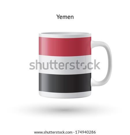 Yemen flag souvenir mug isolated on white background. Vector illustration. - stock vector