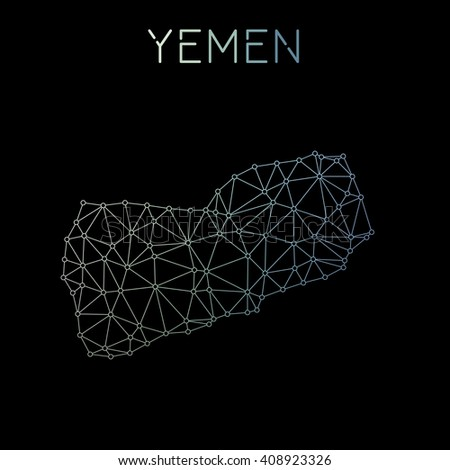 Yemen network map. Abstract polygonal map design. Network connections vector illustration. - stock vector