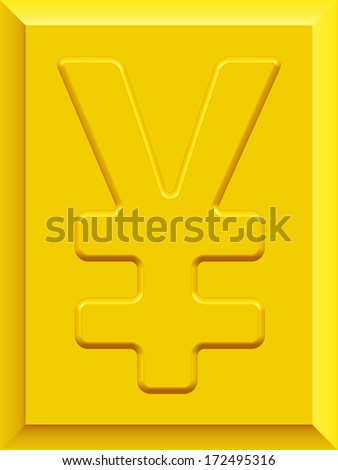 Yen and yuan symbol on gold plate - stock vector