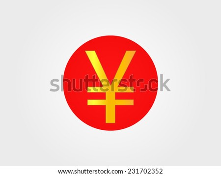 Yen Currency Sign on the center of the Japanese Flag EPS 10 - stock vector