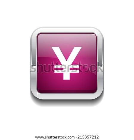 Yen Currency Sign Rounded Rectangular Vector Pink Web Icon Button - stock vector
