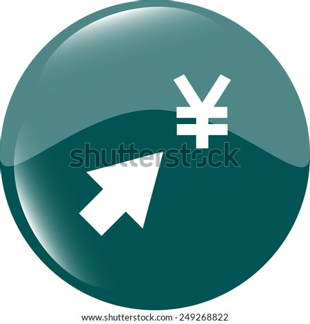 Yen currency symbol and arrow web button icon - stock vector