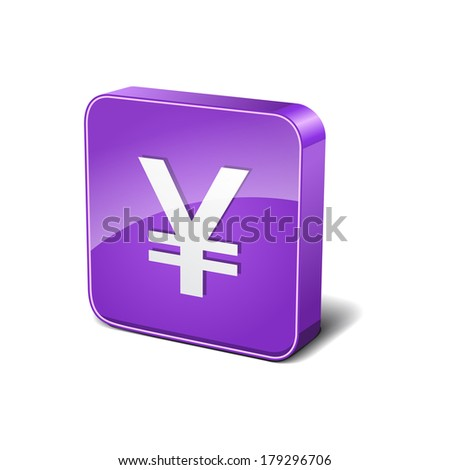 Yen 3d Rounded Corner Violet Vector Icon Button - stock vector