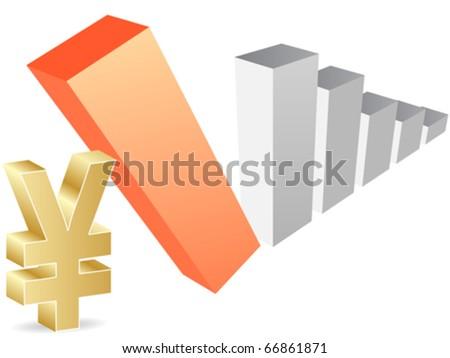 yen evolution - stock vector