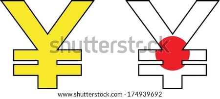 yen symbol painted in the colors of Japan - stock vector