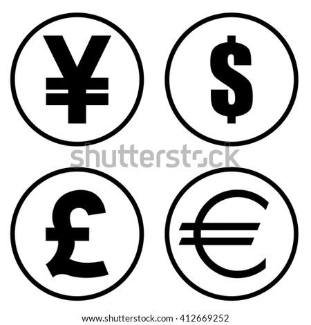 Yen Yuan Dollar Pound Euro Currency Stockvector 412669252 Shutterstock