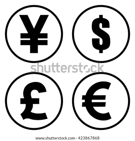 Yen Yuan Dollar Pound Euro Currency Stock Vector 423867868