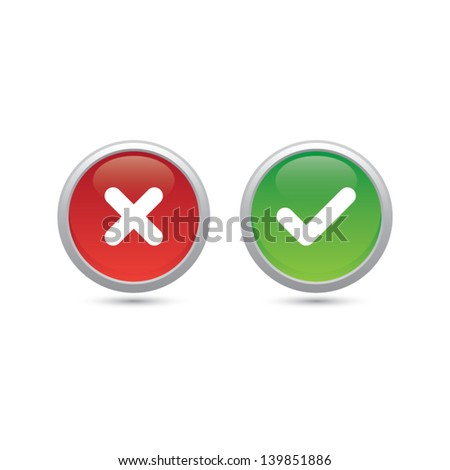 Yer or No Buttons - stock vector