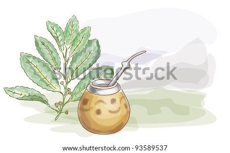 Yerba Mate and Calabash. Watercolor style.  Vector illustration. - stock vector