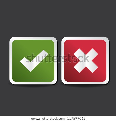 Yes and No button. Vector - stock vector