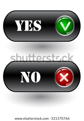 Yes and No check marks. Vector icons. vector - stock vector