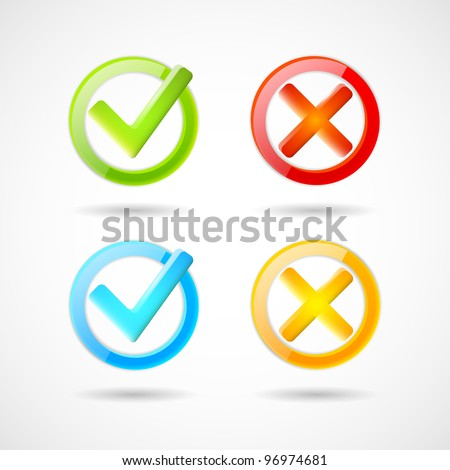 Yes and no icons - stock vector