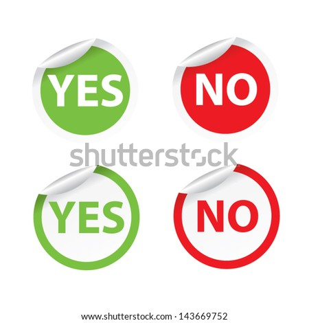 Yes and No stickers and labels. Vector illustration. - stock vector