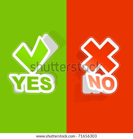 Yes and No. Vector sticker set. - stock vector