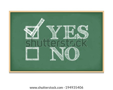 Yes and no with checkboxes on blackboard, vector eps10 illustration