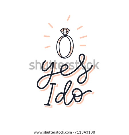 Yes do bridal sign marriage proposal stock vector royalty free yes i do bridal sign marriage proposal print for card invitation poster stopboris Choice Image