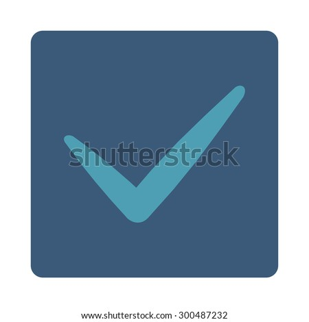 Yes icon. This flat rounded square button uses cyan and blue colors and isolated on a white background.
