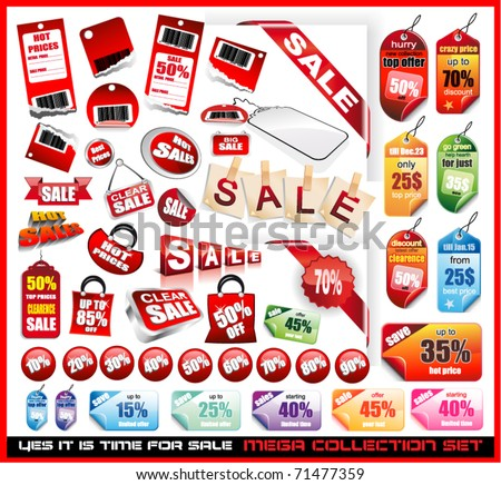 Yes it's time to sale! Sale Tags Mega Collection Set with a lot of design elements - stock vector