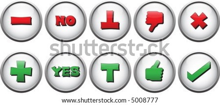 yes no buttons (2) - stock vector