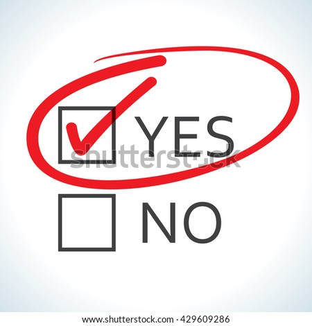 Yes no checked with red marker line - stock vector