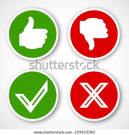 Yes, No, Thumbs up and down icons Like and unlike symbol. Vector - stock vector