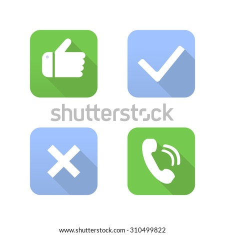 Yes, No, Thumbs up and phone icons - stock vector