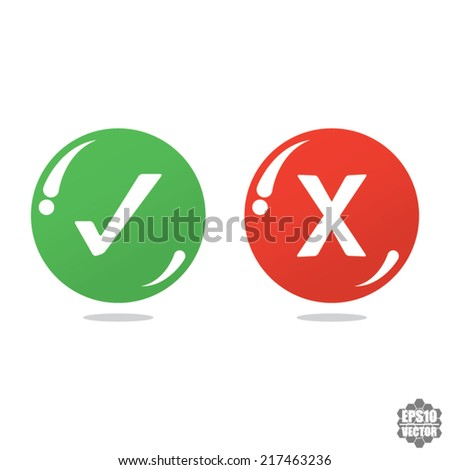Yes or No icons, bubbles - vector  - stock vector
