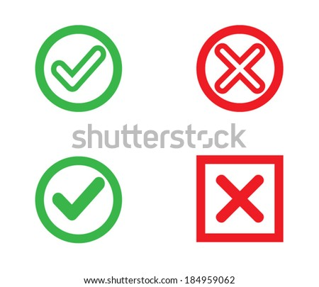 Yes or No, Validation button Icons vector