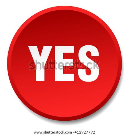 yes red round flat isolated push button
