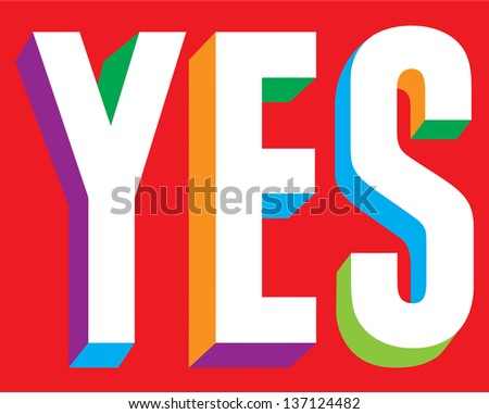 Yes Text on Red - stock vector
