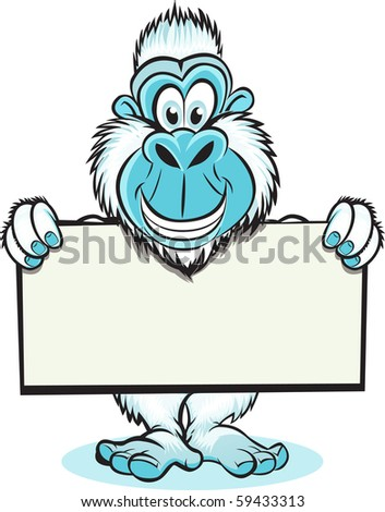 Yeti holding sign - stock vector