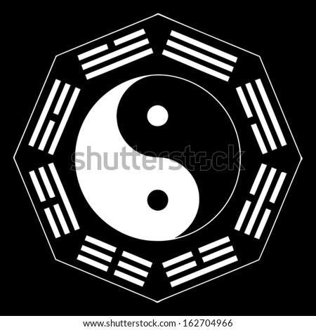 Yin and Yang balance symbol with trigrams  - stock vector