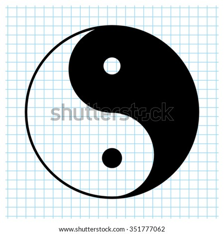 Yin and yang - black vector icon - stock vector