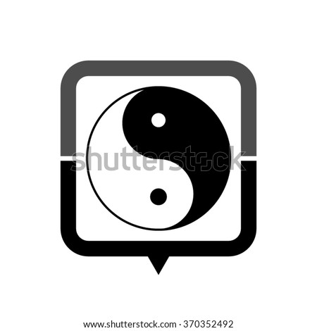 Yin and yang - black vector icon; map pointer;  message bubble - stock vector